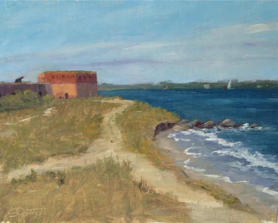 """Finished painting - Fort Clinch State Park 8x10"""" oil on linen panel"""