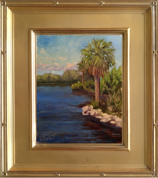 """""""Palm on the Rocks"""" Plein Air Painting #17,  North Peninsula State Park 8x10"""" oil on linen panel"""