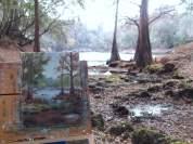 Painting in Progress as rain falls