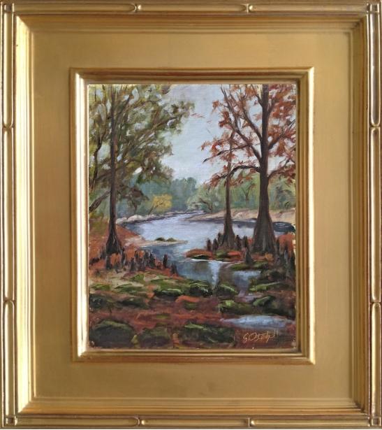 """Lime Sink Run"" Suwannee River State Park 8x10"" oil on linen panel"