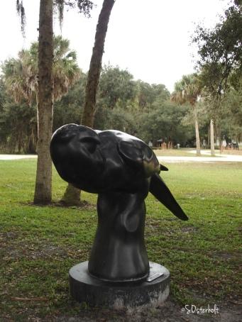 Statue in remembrance of extinct Carolina Parakeet
