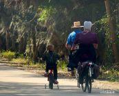 Mennonite family enjoying the park