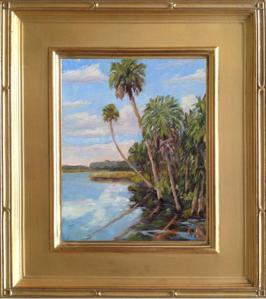 """Bulow Creek Palms - 8x10"""" oil on linen panel en plein air"""