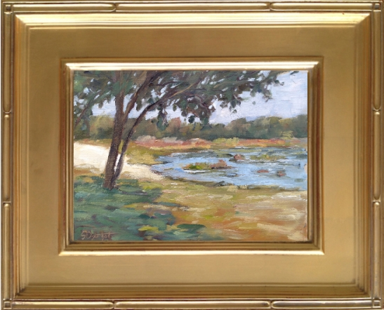 """Painting at Fort Cooper State Park 6x8"""" oil on canvas panel."""