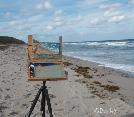 Painting in progress on the beach