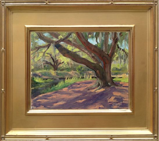"""Lake Kissimmee Oak Shadows - 8x10"""" Oil on linen panel en plein air"""