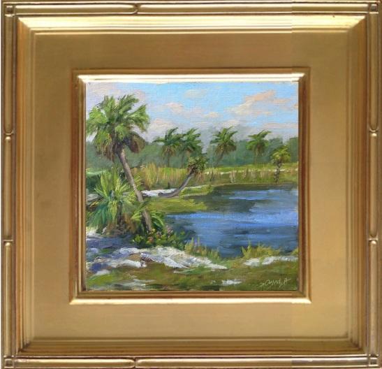 "Fakahatchee Strand Plein Air Painting, oil on linen panel size 8x8"""
