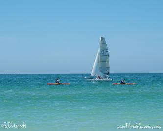 Sailing on the clear blue waters