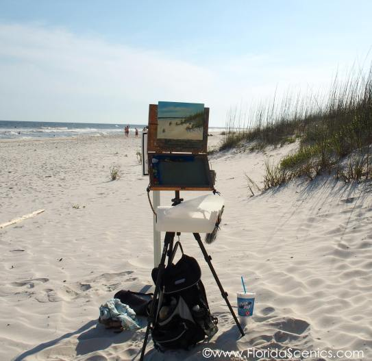 Perdido Key Beach Painting on the beach with my shoes off!