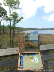 Painting in progress on the dock