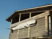 Cool looking driftwood whale on building
