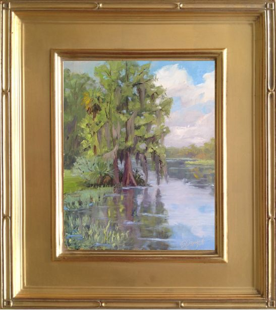 Framed painting - Cypress on the Wekiva - 8x10: oil on linen panel