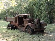 an Old pickup truck stranded on the island