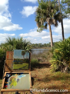 Painting in progress along the creek