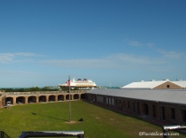 View of cruise ships from fort
